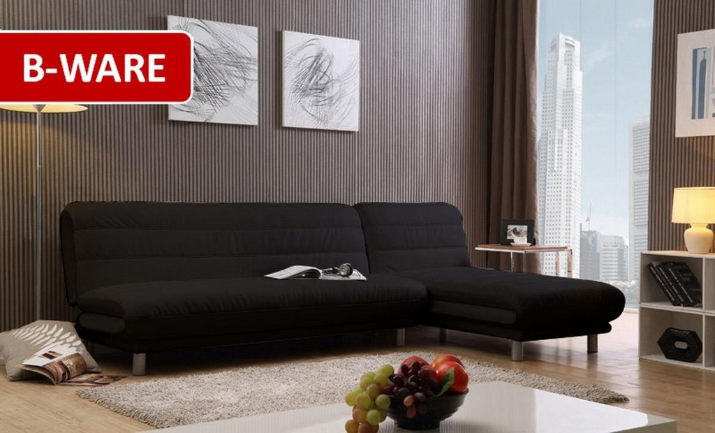 B Ware Ecksofa Rebell Lederimitat Schwarz Outlet with regard to proportions 1200 X 726