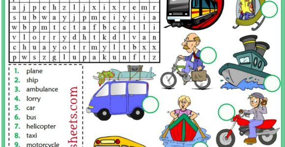 Means Of Transportation Esl Printable Word Search Puzzle Worksheets intended for size 1080 X 1623